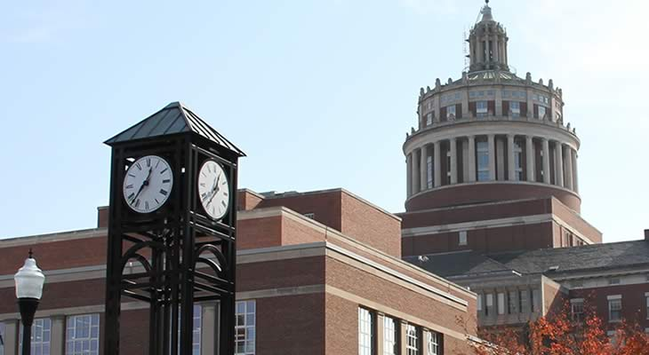 Clock tower with Rush Rhees in the background - 730 x 400