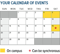 YOUR CALENDAR OF EVENTS - One weekend a month on-campus, one Saturday that can be synchronous. - 210w