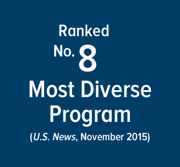 Ranked number 8 for most diverse program - U.S. News, Novemeber 2015 - more rankings