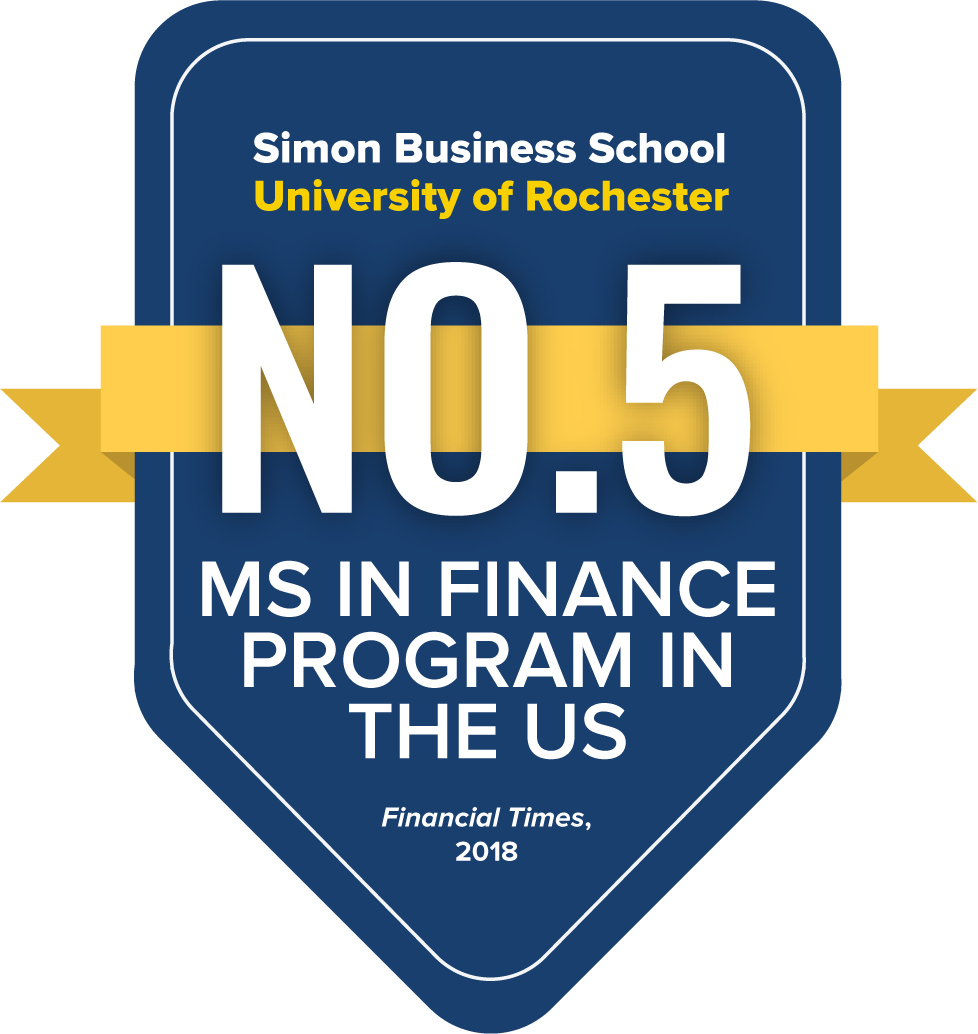 Simon Business School Number 5 MS in Finance Program in the US Financial Times 2018
