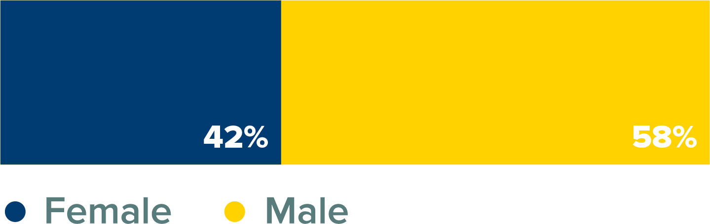MBA Class Percentage by Gender Bar Graph. 42% female and 58% male.