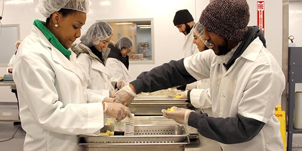Simon students volunteering