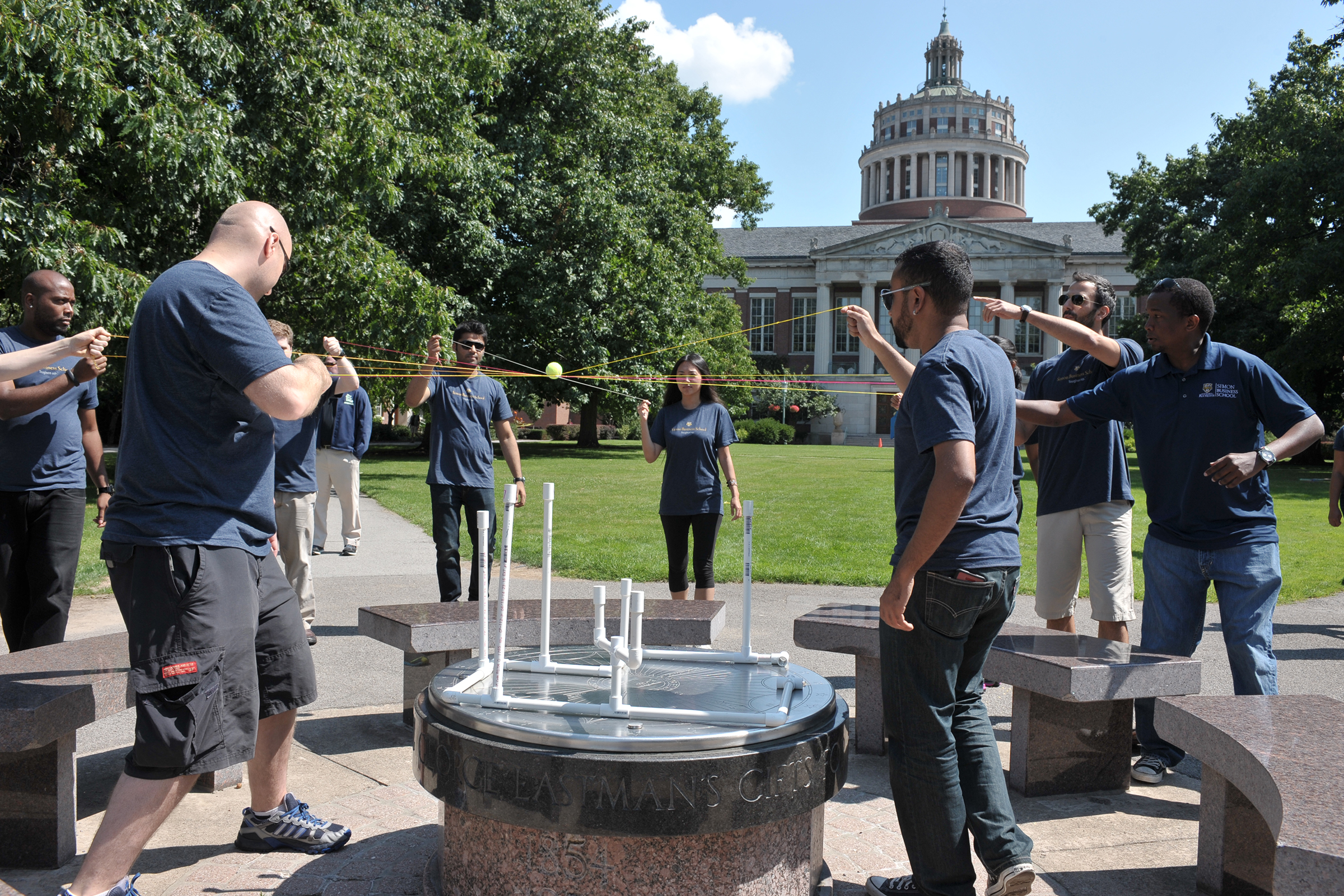 Simon Business School students participate in team building events during orientation