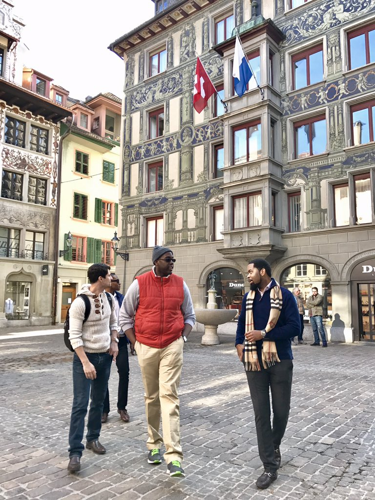 Simon students walking in Switzerland
