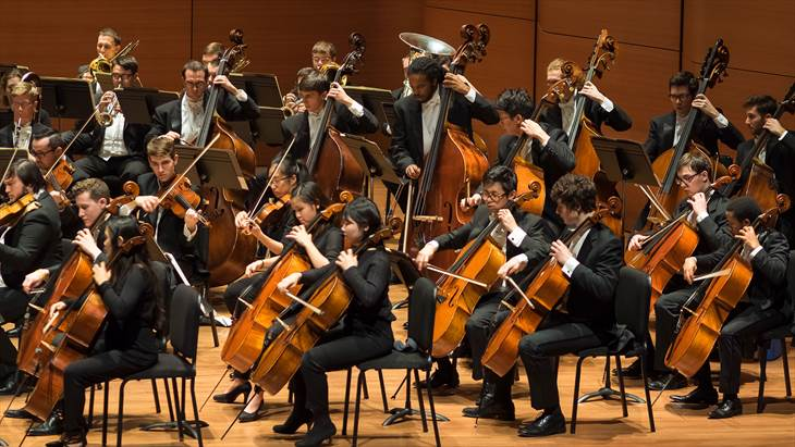 Students playing at Eastman School of Music in Rochester, New York.
